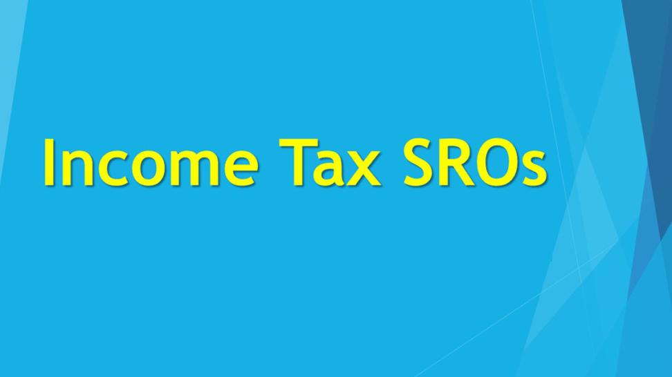 Income Tax SRO